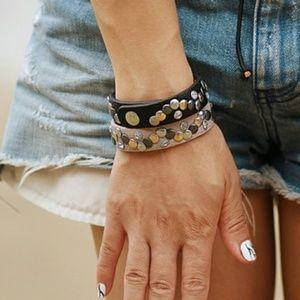 Black Studded Leather Snap Bracelet